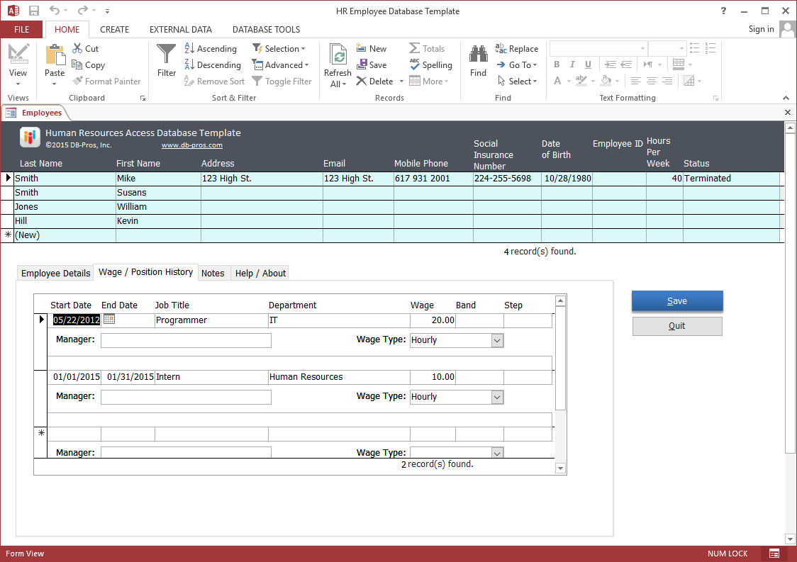 ms access hr database templates  property management ms